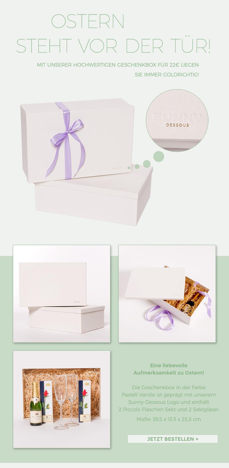 Ostern Geschenkidee liebevolle Aufmerksamkeit gefüllte Geschenkbox Sekt und Sektgläser