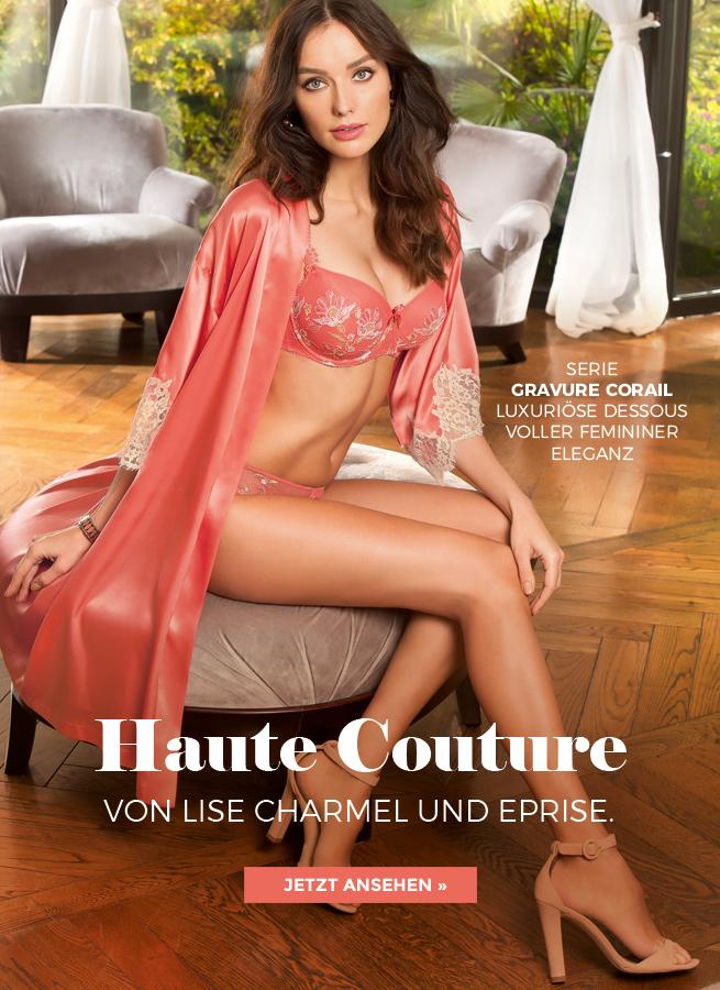 Luxuriöse Dessous der Haut Couture Lingerie Kollektion Gravure Corail