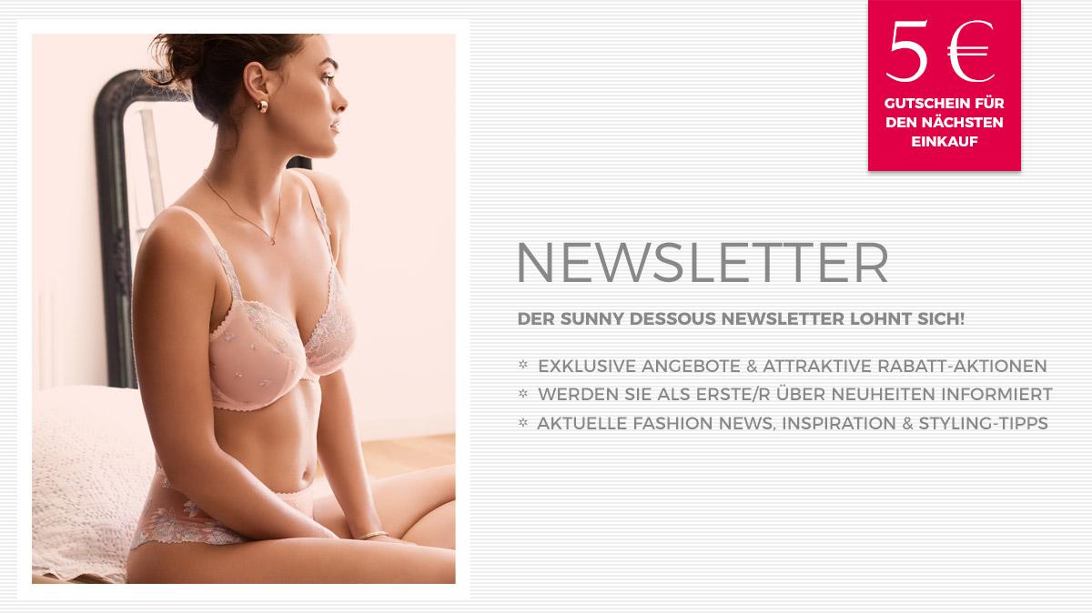 Für den Sunny Dessous Newsletter anmelden und 5 Euro Rabatt für deinen nächsten Einkauf sichern!