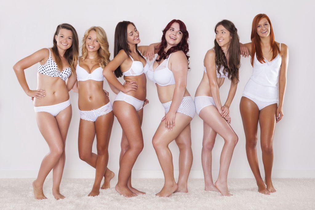 Frauen mit verschiedenen Körperformen