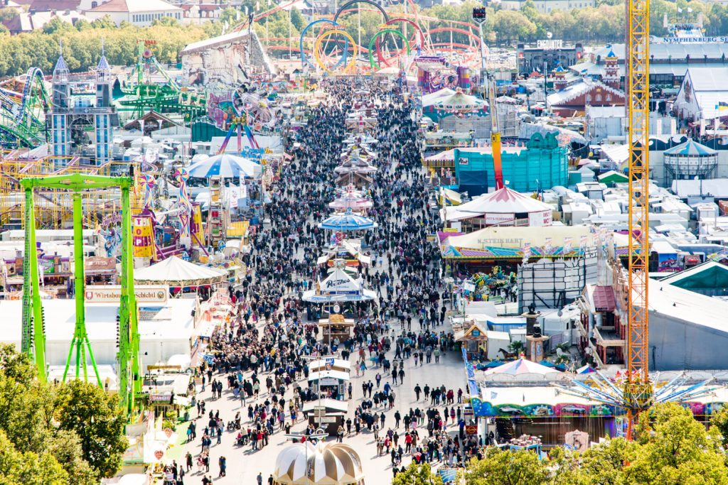 View over the Oktoberfest in Munich