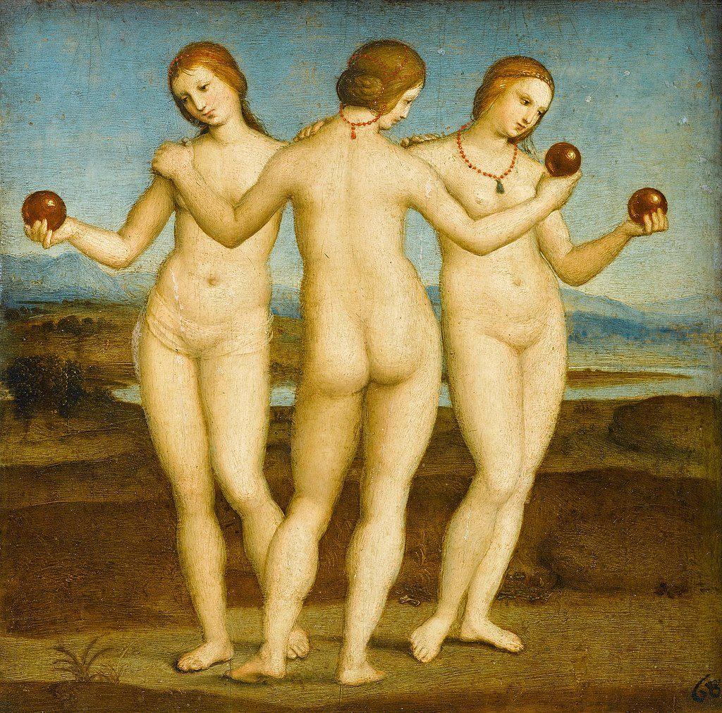 Die drei Grazien, Raffael, ca. 1503-1505; Öl auf Holz