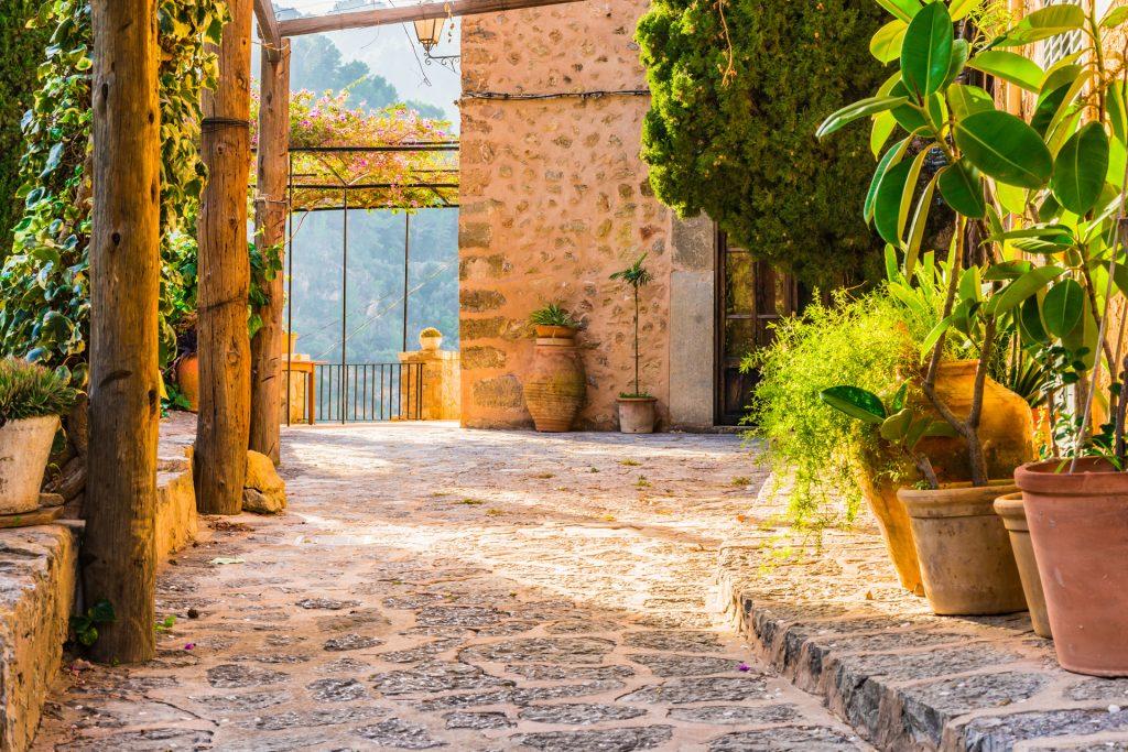 Mediterrane Terrasse, Pflanzen und Terrakotta