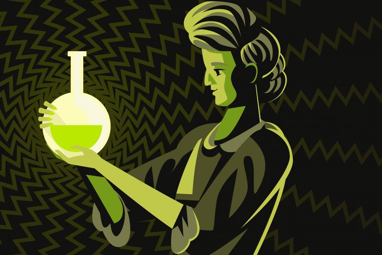 Grafik von Marie Curie mit einer radioaktiven Flüssigkeit
